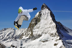 Matterhorn and snowboarder Royalty Free Stock Photo