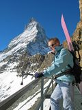 Matterhorn and a snowboarder Royalty Free Stock Images