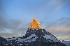 Matterhorn soluppgång Arkivfoton