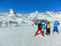 Matterhorn with some skiers Royalty Free Stock Images