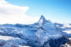 Matterhorn-Spitze im Winter die Schweiz stockbild