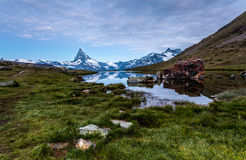 Matterhorn and Stellisee Lake, Switzerland. Royalty Free Stock Images