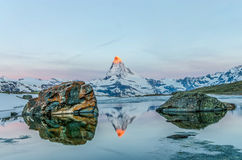 The Matterhorn in The Stellisee Royalty Free Stock Images