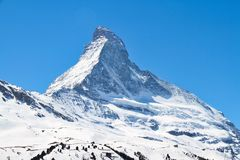 Matterhorn. The summit of the Matterhorn in Alps and covered with snow Stock Image
