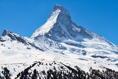 Matterhorn. The summit of the Matterhorn in Alps and covered with snow Stock Images