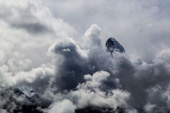 Matterhorn summit in the clouds Stock Images