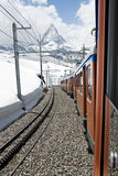 Matterhorn in Sunshine. Looking at the famous mountain, Matterhorn, from the Gornergrat Bahn, Swiss royalty free stock image