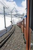 Matterhorn in Sunshine. Looking at the famous mountain, Matterhorn, from the Gornergrat Bahn, Swiss Royalty Free Stock Image