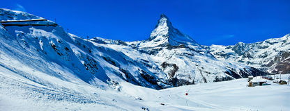 Matterhorn in Swiss Alps. Amazing panorama on Matterhorn in Swiss Alps Royalty Free Stock Images