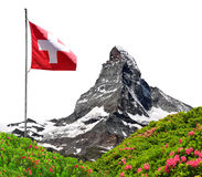 Matterhorn with Swiss flag Royalty Free Stock Photography