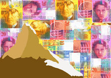 Matterhorn with Swiss Francs Stock Photo