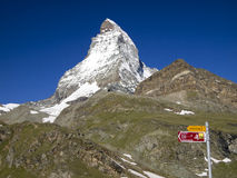 Matterhorn and Swiss Mobility sign post Royalty Free Stock Photos