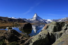Matterhorn. Swiss mountain Matterhorn in the lake Stellisee Stock Photos