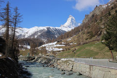 Matterhorn from Swiss town Zermatt Stock Photography