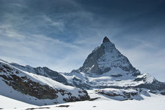 The Matterhorn, Switzerland. View of Matterhorn Peaks from Zermatt, Switzerland stock photos