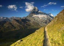 Matterhorn, Switzerland. Hiking trail under Matterhorn, Switzerland Stock Image