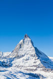 Matterhorn in Switzerland. View of Matterhorn on a clear sunny day on the winter hiking path, Zermatt, Switzerland stock image