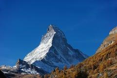 Matterhorn in Switzerland. View of Matterhorn seen from village Zermatt in Switzerland Royalty Free Stock Image