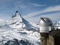 Matterhorn and Telescope. From the peak behind the Gornergrat Observatory (3089 m / 10138 ft) a breathtaking view of the most imposing mountain in Europe Stock Images