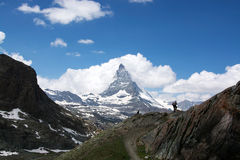 Matterhorn, Valais, Switzerland. The Matterhorn is a mountain of the Alps, straddling the main watershed and border between Switzerland and Italy stock image