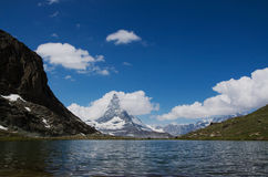Matterhorn, Valais, Switzerland. The Matterhorn is a mountain of the Alps, straddling the main watershed and border between Switzerland and Italy royalty free stock photo