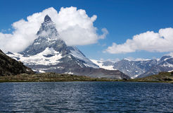 Matterhorn, Valais, Switzerland. The Matterhorn is a mountain of the Alps, straddling the main watershed and border between Switzerland and Italy royalty free stock photography