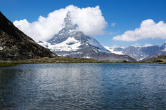 Matterhorn, Valais, Switzerland. The Matterhorn is a mountain of the Alps, straddling the main watershed and border between Switzerland and Italy royalty free stock photos