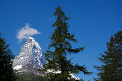 Matterhorn, Valais, Switzerland. The Matterhorn is a mountain of the Alps, straddling the main watershed and border between Switzerland and Italy royalty free stock image