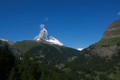 Matterhorn, Valais, Switzerland. The Matterhorn is a mountain of the Alps, straddling the main watershed and border between Switzerland and Italy stock photography