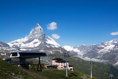 Matterhorn, Valais, Switzerland. The Matterhorn is a mountain of the Alps, straddling the main watershed and border between Switzerland and Italy royalty free stock images