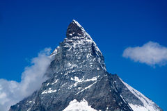 Matterhorn, Valais, Switzerland. The Matterhorn is a mountain of the Alps, straddling the main watershed and border between Switzerland and Italy stock images