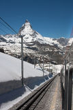 Matterhorn view. View on the Matterhorn from the Gornergrat railway in early summer Royalty Free Stock Image