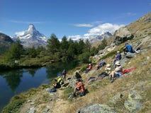Matterhorn view. Hiking at Switzerland Royalty Free Stock Photography