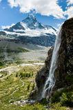 Matterhorn with waterfal Stock Images