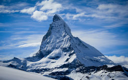 Matterhorn in winter. In swiss alps with clouds Royalty Free Stock Photo