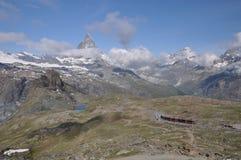 Matterhorn y Gornergrat Bahen (GGB) Fotografía de archivo
