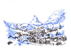 Matterhorn zermatt green city hand drawing sketch illustration vector illustration