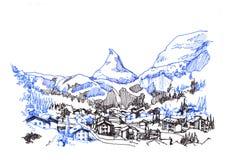 Matterhorn zermatt green city hand drawing sketch illustration Stock Photos