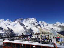 Matterhorn, Zermatt Switzerland tourist and electric train Stock Photo
