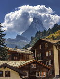 Matterhorn and Zermatt village houses, Switzerland Royalty Free Stock Photos