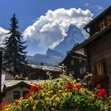 Matterhorn and Zermatt village houses, Switzerland Royalty Free Stock Photo