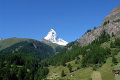Matternhorn. View of the matterhorn in summer stock images
