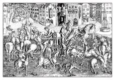 Matthaeus Zafinger engraver, Tournament in München. Tournament in München at the presence of Albrecht IV of Bavaria. Reproduction from an engraving of Royalty Free Stock Images
