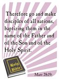 Matthew 28:19 - Holy Bible. Popular verses of the Holy Bible to remember the words of the Lord Stock Images