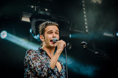 Matthew Healy. Of The 1975 band during a concert at Longitude Festival 2014 in Dublin, Ireland Stock Images