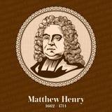 Matthew Henry 1662-1714 var en frireligiös minister och författare, bördiga Wales royaltyfri illustrationer