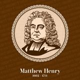 Matthew Henry 1662-1714 was a nonconformist minister and author, born in Wales. royalty free illustration