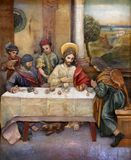 Matthew invited Jesus home for a feast. Altarpiece on altar of St. Anthony the Great in the church of Saint Matthew in Stitar, Croatia Royalty Free Stock Images