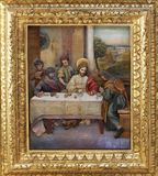 Matthew invited Jesus home for a feast. Altarpiece on altar of St. Anthony the Great in the church of Saint Matthew in Stitar, Croatia Royalty Free Stock Photo
