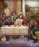 Matthew invited Jesus home for a feast. Altarpiece on altar of St. Anthony the Great in the church of Saint Matthew in Stitar, Croatia Stock Photography